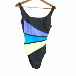 Robby Len 10 One Piece Swimsuit Black Color Block